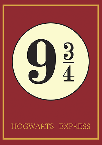 Harry Potter plataforma 9 3/4 Hogwarts